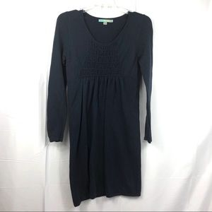 Boden Navy Blue Smocked Long Sleeve Knit Dress 4R